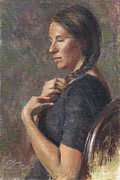 """life Study"" Originals - Her Long Braid by Anna Bain"