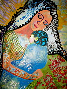 Abstract Mother And Child Paintings - Her Love by Amy Sorrell