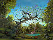 Swing Paintings - Her Own Little Fairytale. Fantasy Fairy Tale Landscape Painting. By Philippe Fernandez by Philippe Fernandez