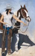 Cowgirl Paintings - Her Paint Horse by Jack Atkins
