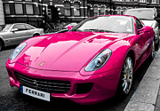 Italian Shopping Framed Prints - Her Pink Ferrari Framed Print by Matt Malloy
