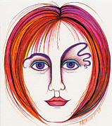 Redhead Drawings Posters - Her Purple Eyes Poster by Nina Kuriloff