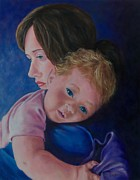 First Family Paintings - Her Warm Embrace by Susan DeLain