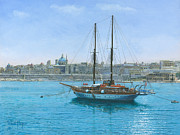 Yacht Paintings - Hera 2 Valletta Malta by Richard Harpum