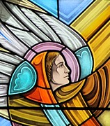 Religious Glass Art Posters - Heralding Angel Poster by Gilroy Stained Glass
