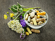 Tablets Photo Posters - Herbal medicine and herbs Poster by Elena Elisseeva