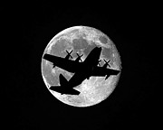 Lockheed Aircraft Prints - Hercules Moon Print by Al Powell Photography USA
