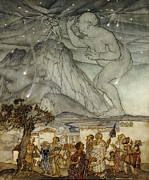 English Watercolor Paintings - Hercules Supporting the Sky instead of Atlas by Arthur Rackham