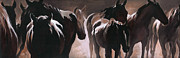 Silhouette Painting Originals - Herd of Horses by Natasha Denger