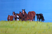 Herd Of Horses Paintings - Herd of horses relaxing by Claudia Luethi