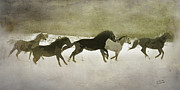Expressionist Equine Prints - Herd Spirit in Sepia Print by Renee Forth Fukumoto