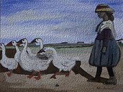 Herding Digital Art - Herding Geese by Kate Farrant