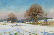 Snow-covered Landscape Painting Posters - Herding Sheep in Wintertime Poster by Frank Hind