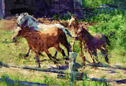 Horse Stable Mixed Media Posters - Herding Them Home Poster by Skye Ryan-Evans