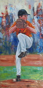 Baseball Glove Paintings - Here Comes The Fastball by Martha Manco