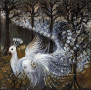 Peacock Paintings - Here Comes The Mist by Angel  Tarantella