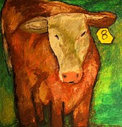 Cattle Pastels Prints - Hereford Art Print by Jon Kittleson