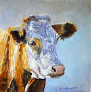 Steer Paintings - Hereford Cow by Louise Charles-Saarikoski