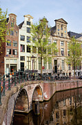 Linked Metal Prints - Herengracht Canal Houses in Amsterdam Metal Print by Artur Bogacki