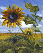 Field Of Sunflowers Paintings - Heres Looking at You Kid by Nancy  Parsons