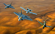 Fighter Digital Art Prints - Heritage Flight II Print by Dale Jackson