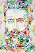 Moby Dick Prints - HERMAN MELVILLE watercolor portrait.1 Print by Fabrizio Cassetta