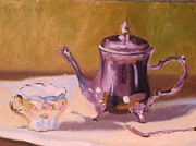 Silver Tea Pot Paintings - Hermits Tea - original oil painting by Thea David