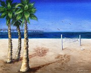 Piers Painting Framed Prints - Hermosa Beach Pier Framed Print by Jamie Frier