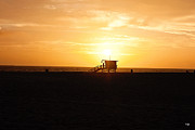 Shack Prints - Hermosa Beach Sunset Print by Scott Pellegrin
