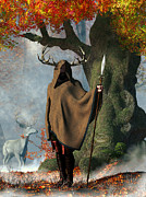 Mists Posters - Herne The Hunter Poster by Daniel Eskridge