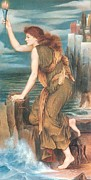 Leander Framed Prints - Hero Awaiting The Return of Leander Framed Print by Evelyn de Morgan
