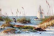 Boats Digital Art Prints - Heron and Sailboat Larger Sizes Print by Michael Thomas