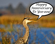 Grey Heron Framed Prints - Heron Anniversary Card Framed Print by Al Powell Photography USA