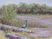 Heron At Jordan Lake Print by Pamela Poole