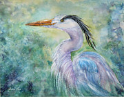 Waterfowl Paintings - Heron Camouflage by Bette Orr