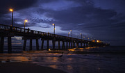 Panorama Digital Art Originals - Heron Fishing at the Pier by Michael Thomas