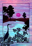 Heron Tapestries - Textiles Framed Prints - Heron Haven Framed Print by Jean Baardsen