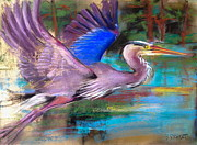 Flight Pastels Posters - Heron in FLight Poster by Barbara Richert