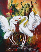 Wet Fly Painting Prints - Heron Meeting Print by Miroslaw  Chelchowski