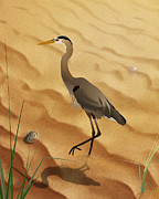 Sea Birds Mixed Media Posters - Heron On Golden Sands Poster by Bedros Awak