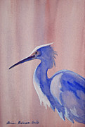 Blue Herron Painting Framed Prints - Heron Framed Print by Shirin Shahram Badie