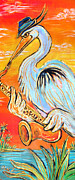 Angel Blues  Posters - Heron the Blues Poster by Robert Ponzio