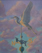 Weathervane Painting Prints - Heron Weather Vane Print by Bonnie Golden