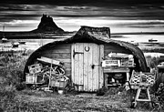 Northumberland Prints - Herring boat hut Lindisfarne Monochrome Print by Tim Gainey