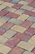 Brick Patio Posters - Herringbone patio texture Poster by Loree Johnson