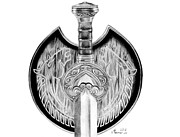 Sword Drawings - Herugrim by Kayleigh Semeniuk