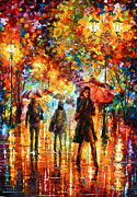 Original Fall Landscape Paintings - Hesitation of the Rain by Leonid Afremov