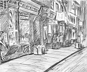 Store Fronts Drawings Framed Prints - Hester Street Framed Print by Baruch Y Lebovits