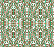 Hexagon And Square Pattern Print by Jozef Jankola