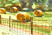 Farmland Painting Originals - Hey Bales in the Afternoon by Kip DeVore